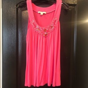 Boston Proper pink top with rhinestone detail, xs
